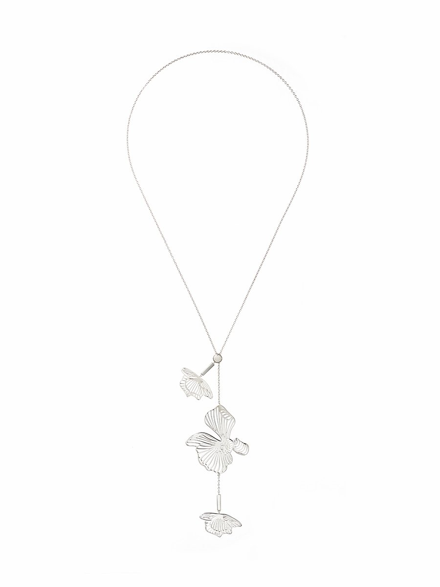 Orchid 925 silver long pendant necklace aloadofball Image collections