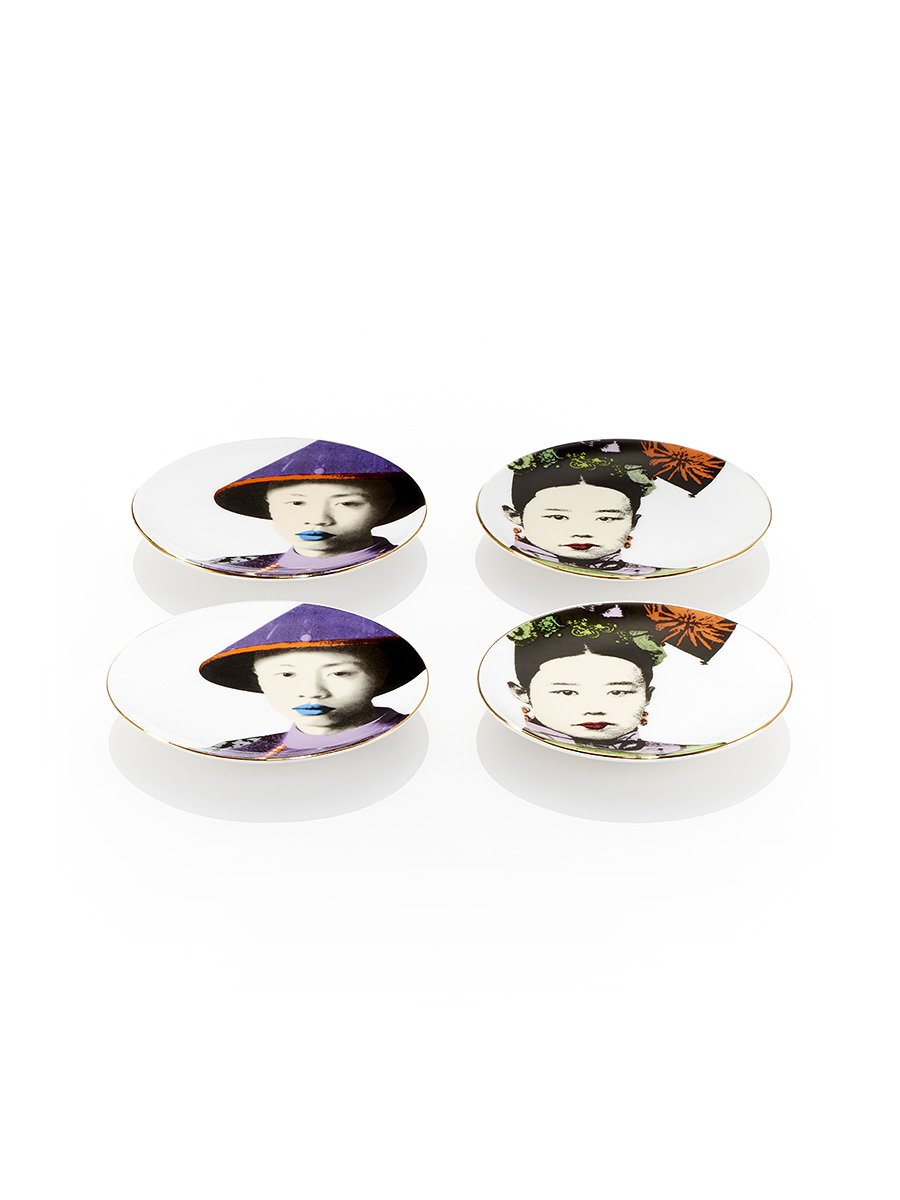 puyi and empress mini appetizer plates set of 4 - Horderves Plates