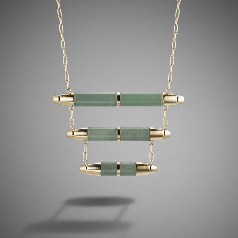 Jade bamboo necklace