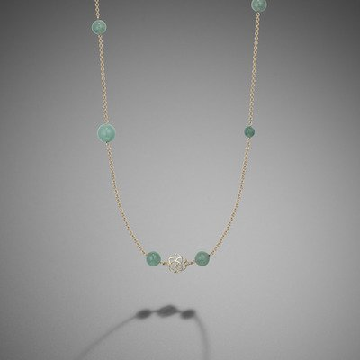 Jade and knot necklace