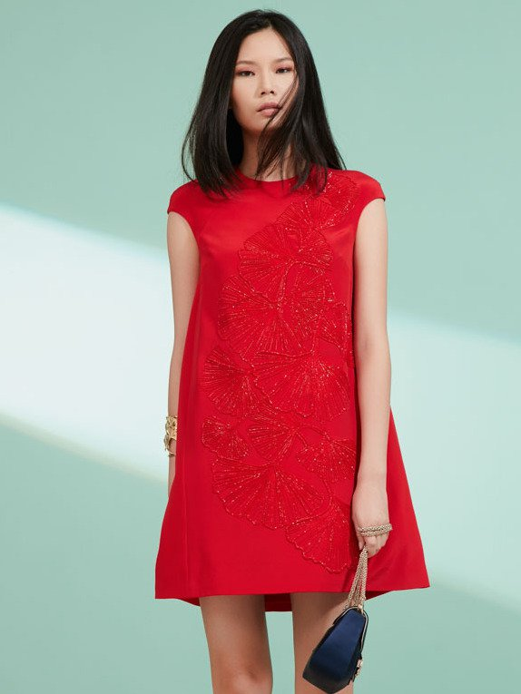 ginkgo embroidery dress