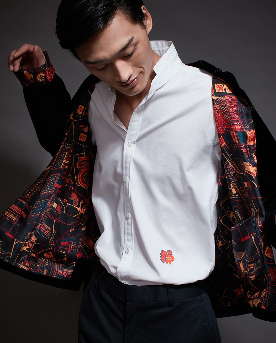 Dress up chinese - Short Velvet Tang Jacket With Silk Neon Print Lining