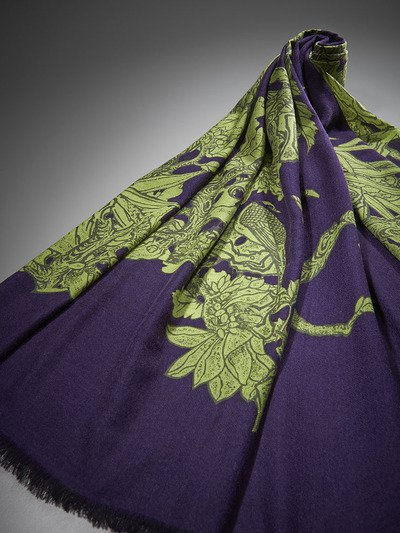 Carved Dragon Cashmere Shawl Lime