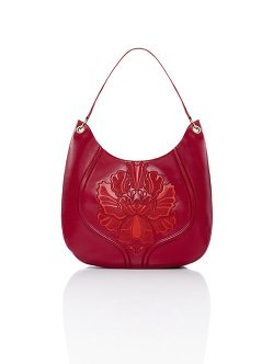 Peony Plate Embroidery Leather Hobo