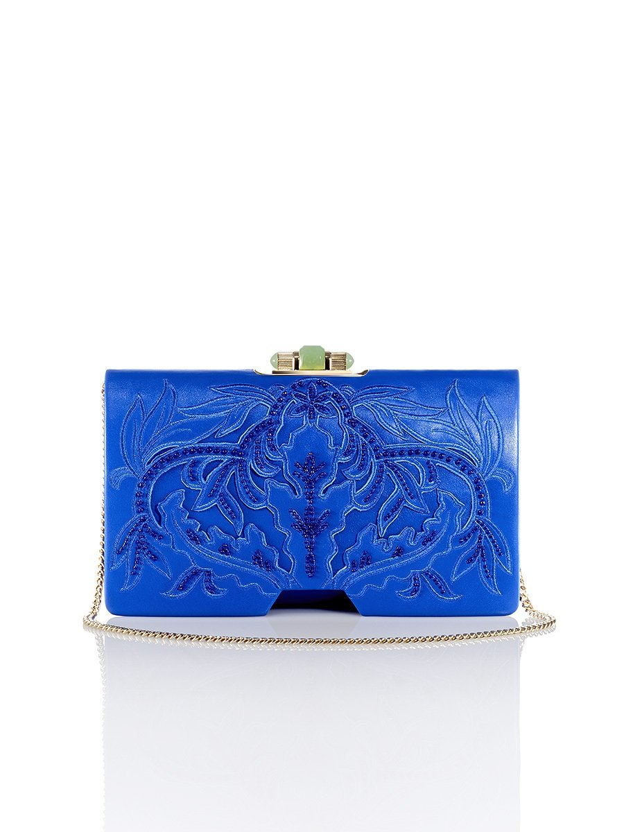 Chinese Ornament Applique Bamboo Leather Clutch
