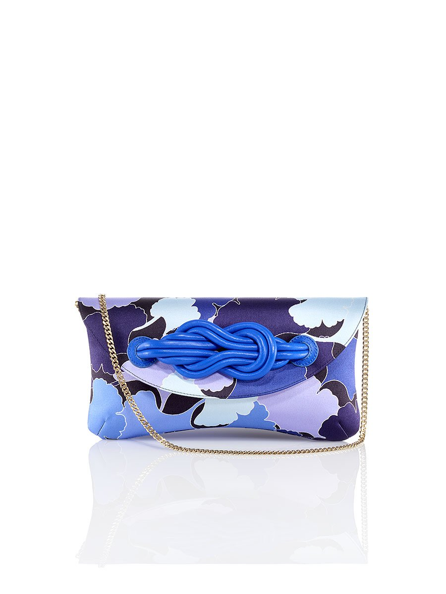 Gingko Print Silk Knot Clutch