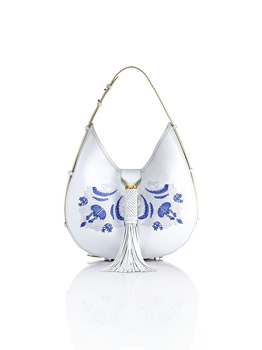 Palm Embroidery Leather Hobo