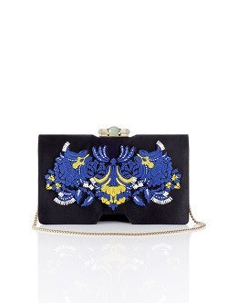 Palm Embroidery Silk Bamboo Clutch