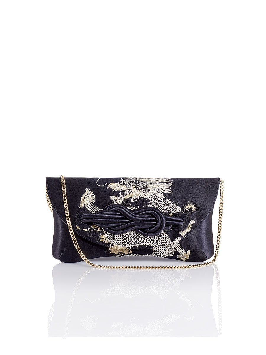 Dragon Embroidery Silk Knot Clutch