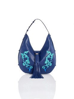 Tassel Lotus Embroidery Hobo