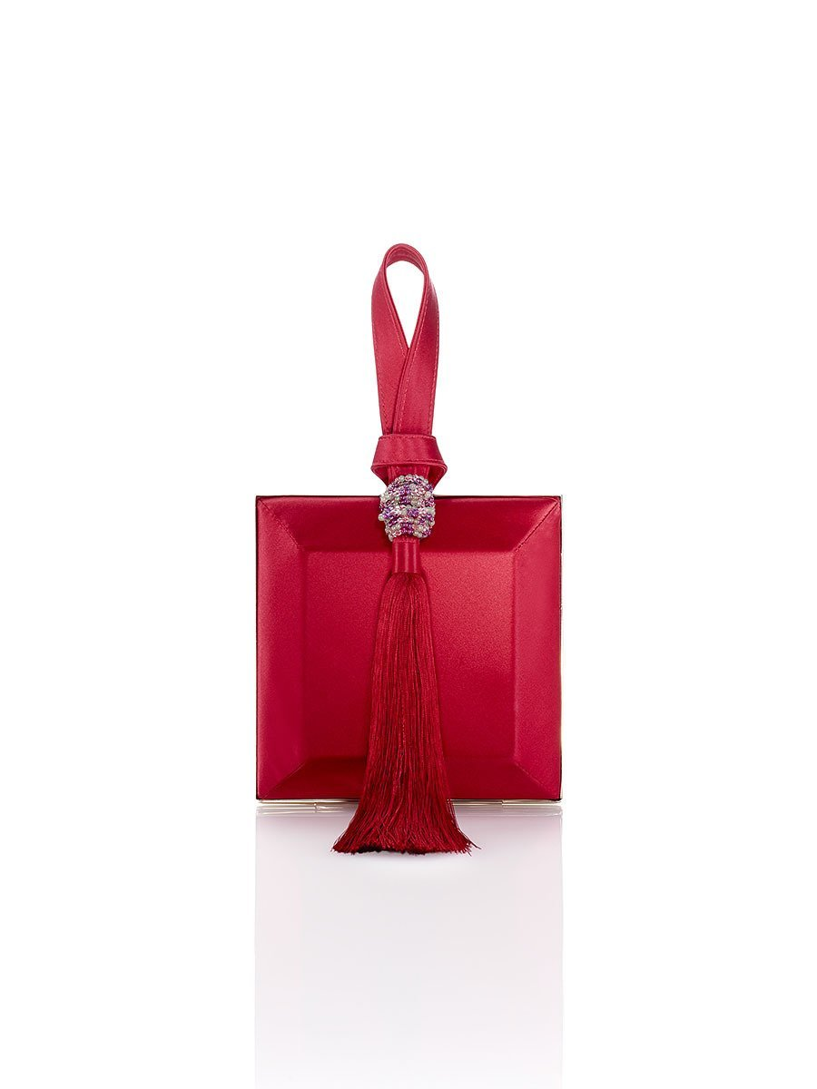 Tassel Silk Box Clutch