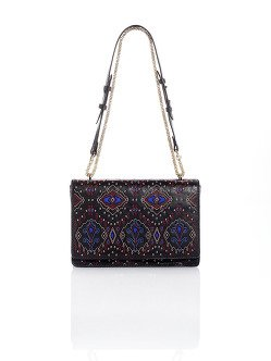 Mongolian Neon Ikat Quilted Small Flap Handbag
