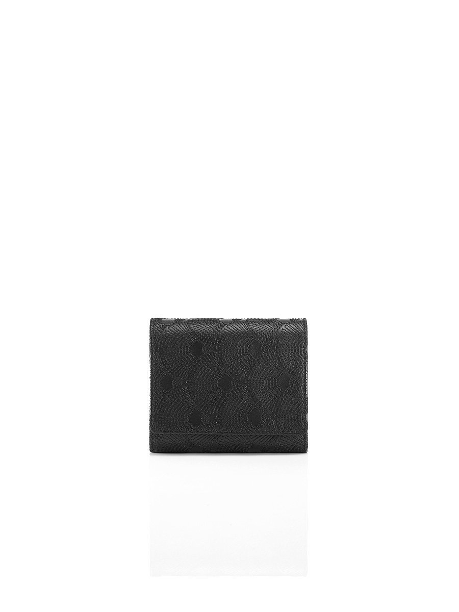 Quilted Fan Leather Compact Wallet