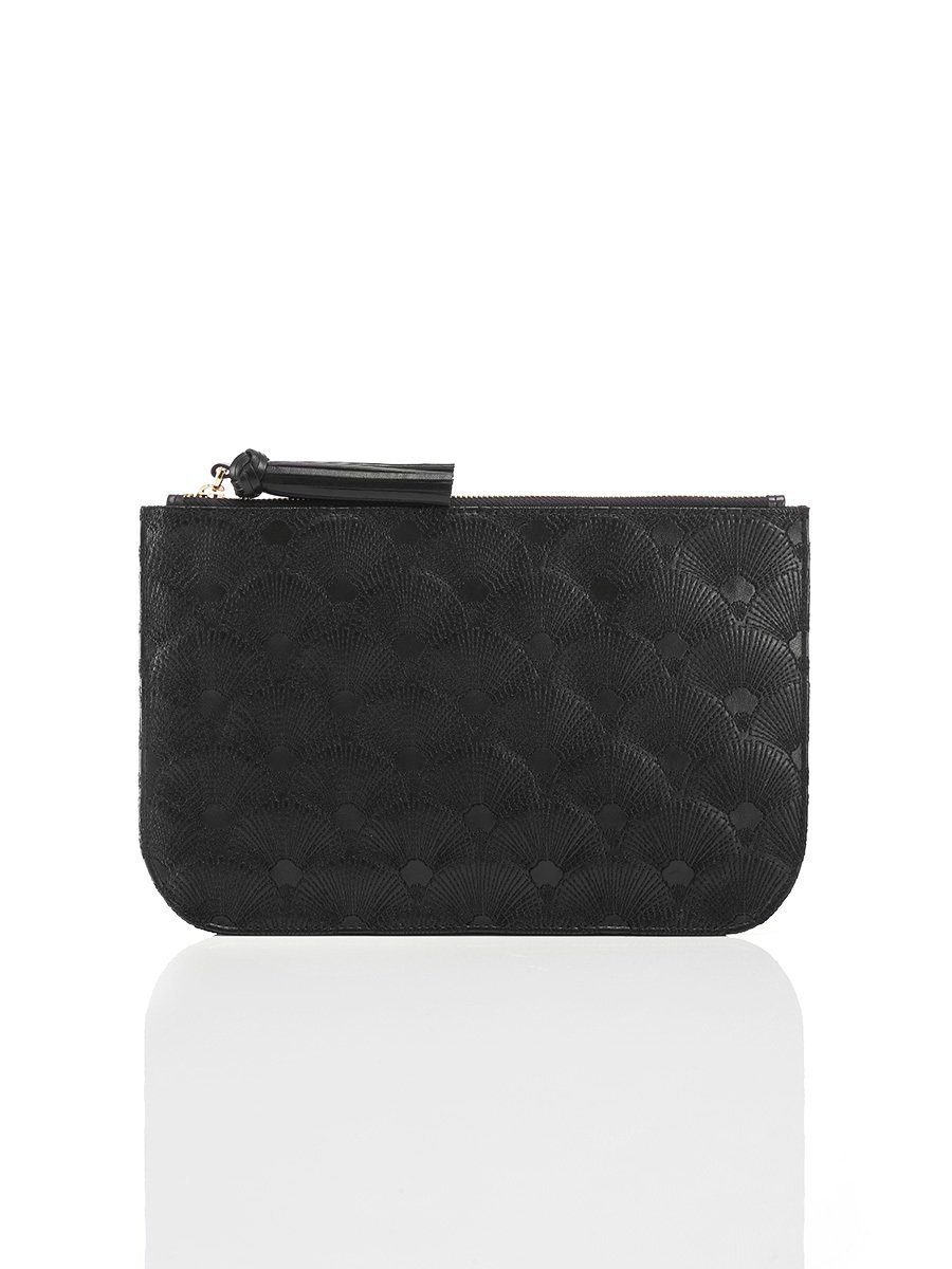 Quilted Fan Leather Flat Pouch