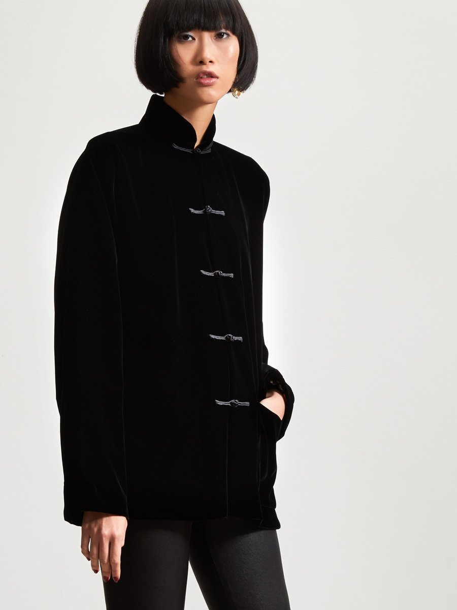 Velvet Tang Jacket with Embroidered Lining