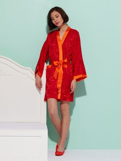 Silk Short Kimono with Leaves Pattern