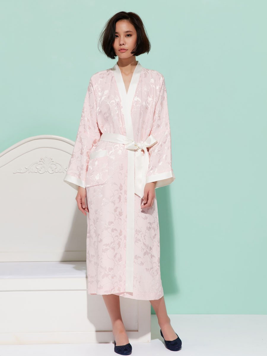 Silk Long Kimono with Leaves Pattern