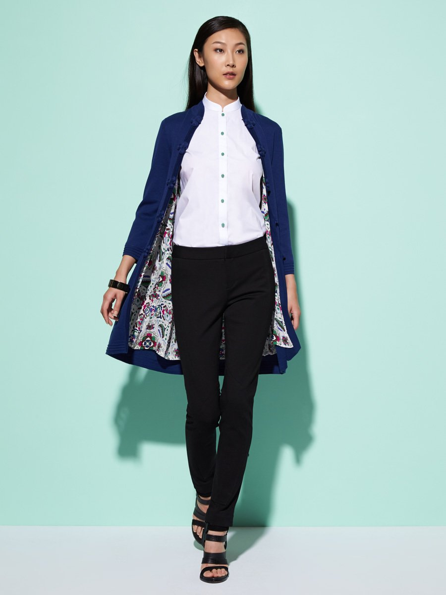 Silk-Cotton Miao Flower Print Lined Long Cardigan
