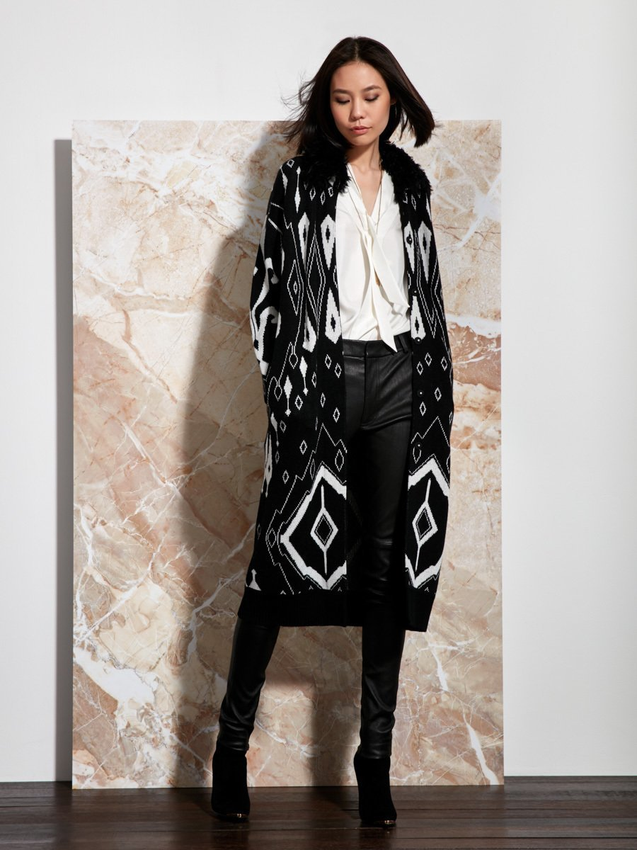 Ikat Jacquard Wool Knit Coat with Fur Collar