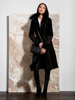 Shearling Coat with Embroidery and Fur Collar