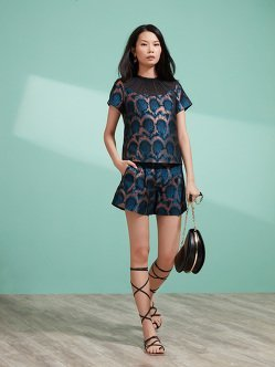 Dragon Scale Jacquard Cap Sleeve Top