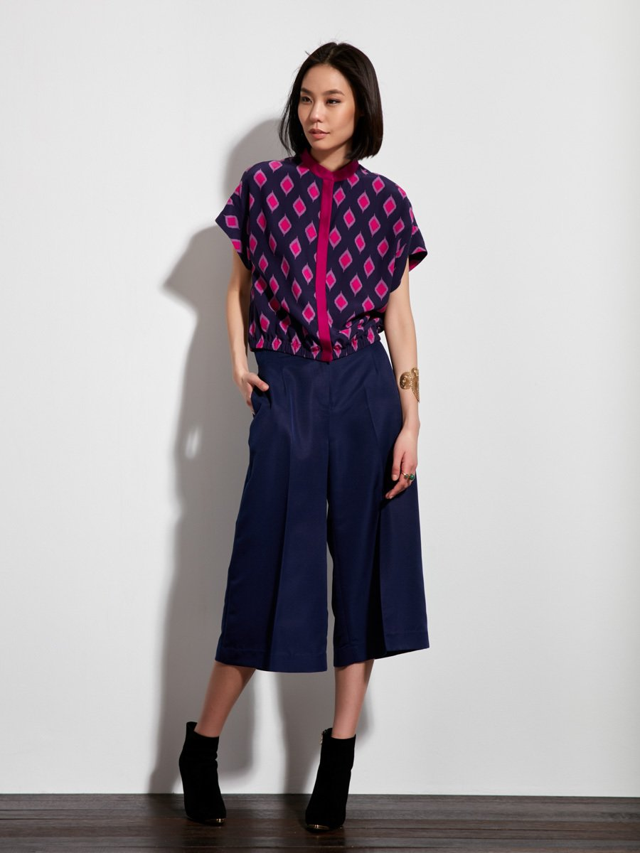 Jewel Ikat Print Silk Crepe Top