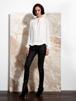 Silk Band Collar Blouse