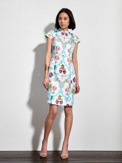 Tribal Palm Print Silk Biker Qipao Dress
