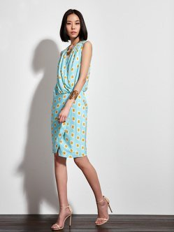 Jewel Ikat Print Wrap Dress