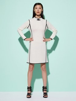 Wool Dress With Leather Trim