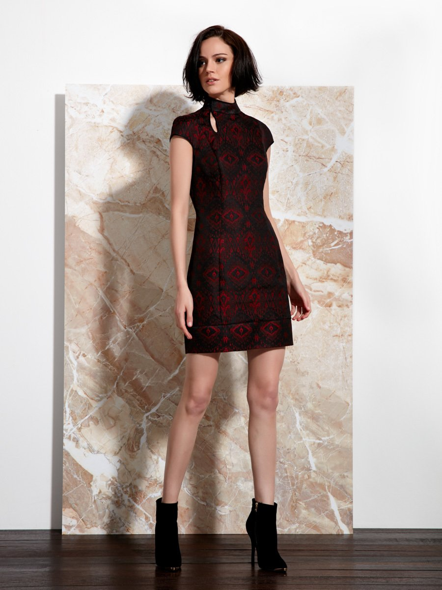 Ikat Jacquard Qipao Dress