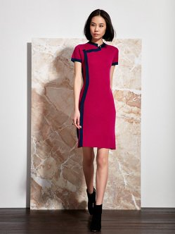 Wool Qipao Dress With Contrast Trim