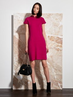 Wool Contrast Ottoman Qipao Dress