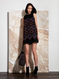 Neon Ikat Embroidery Wool-Cashmere Dress