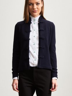 Women Cashmere Cardigan with Chinese Tales Silk Lining