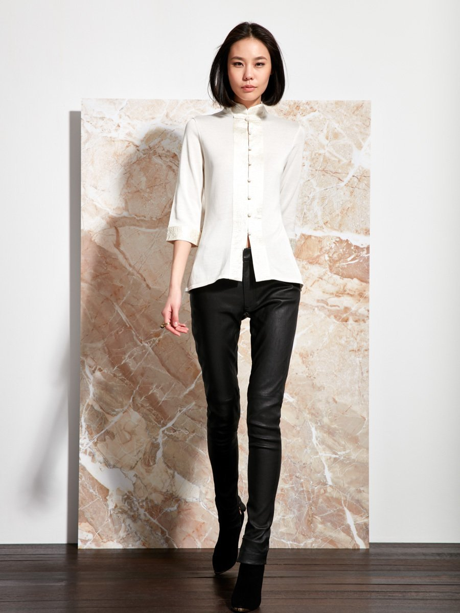 Silk-Cotton Satin Embroidery Cardigan Top