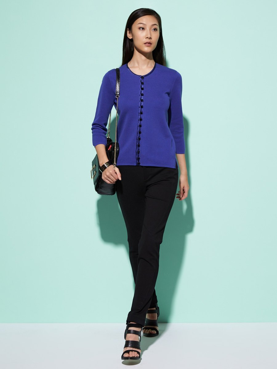Silk-Cotton Gemstone Button 3/4 Sleeve Cardigan