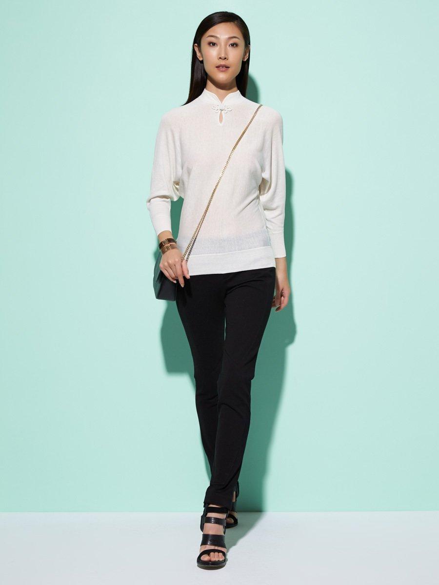 Silk-Cotton Batwing Pullover