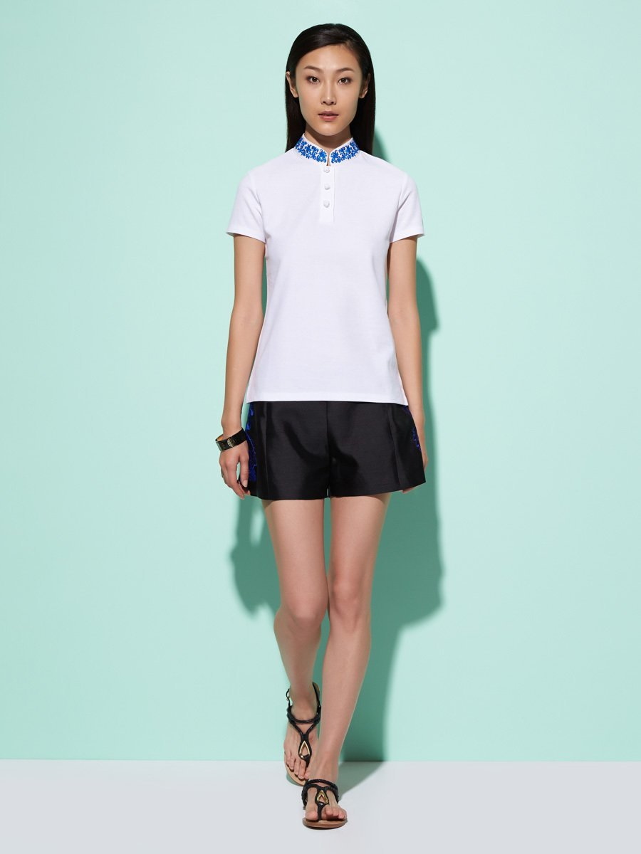 Cotton Pique Polo Shirt With Embroidered Silk Collar
