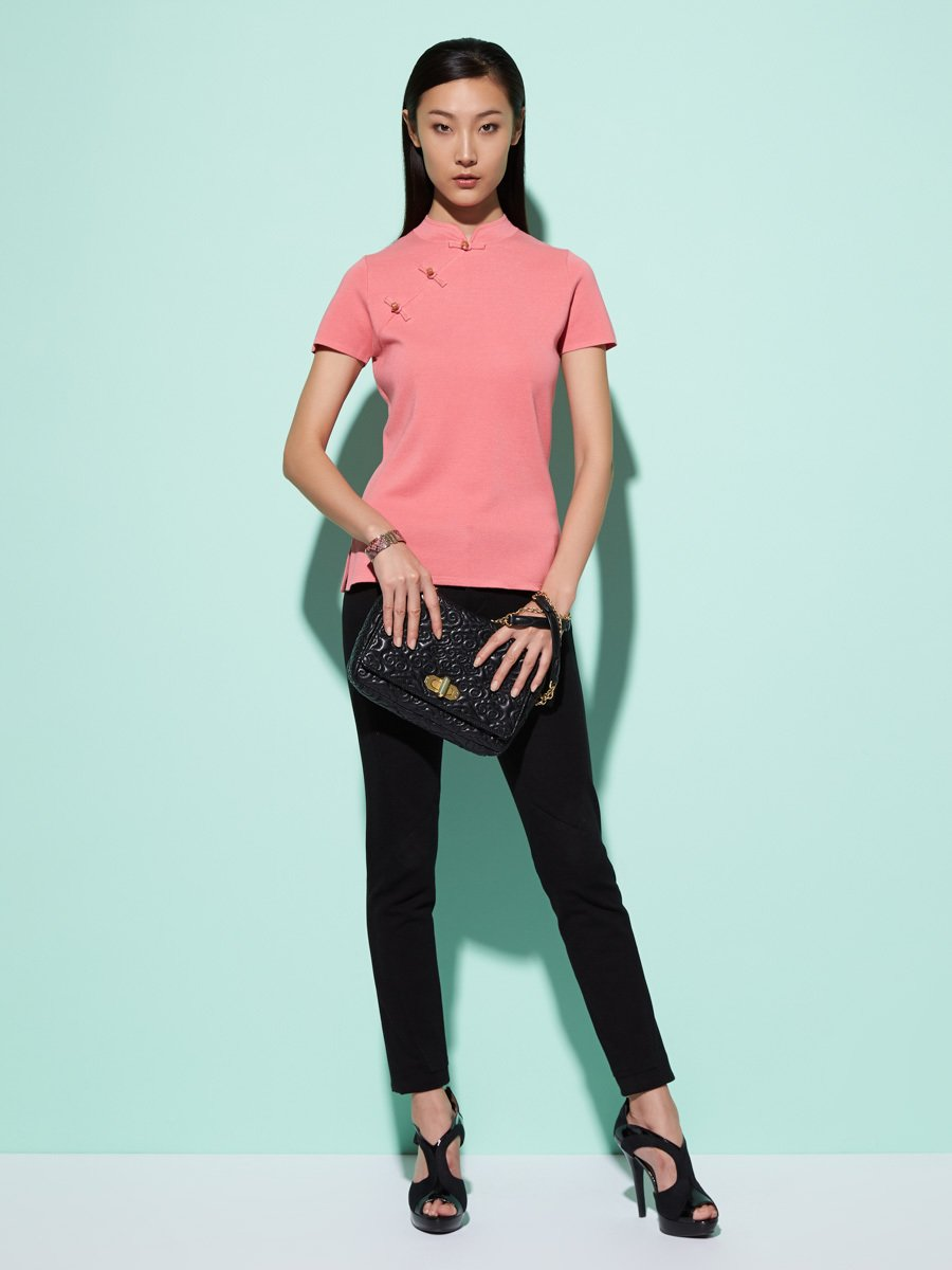 Silk-Cotton Stone Button Short Sleeve Qipao Top