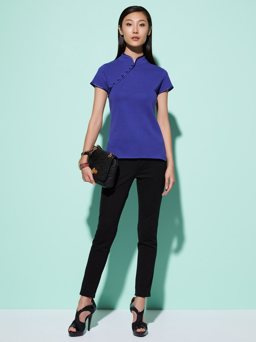 Silk-Cotton Satin Button Short Sleeve Qipao Top