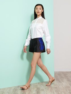 Silk-Cotton Shorts With Embroidery