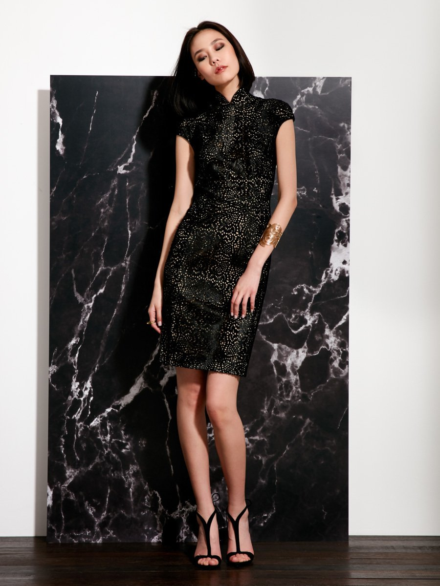 SHANGHAI TANG QIPAO | Calf Hair Qipao dress with elegant intimate lacy Laser cut textures dress ....