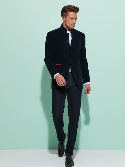 Cotton Blazer with Corduroy Trims