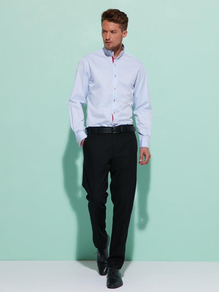 Three-buttons cotton collar shirt