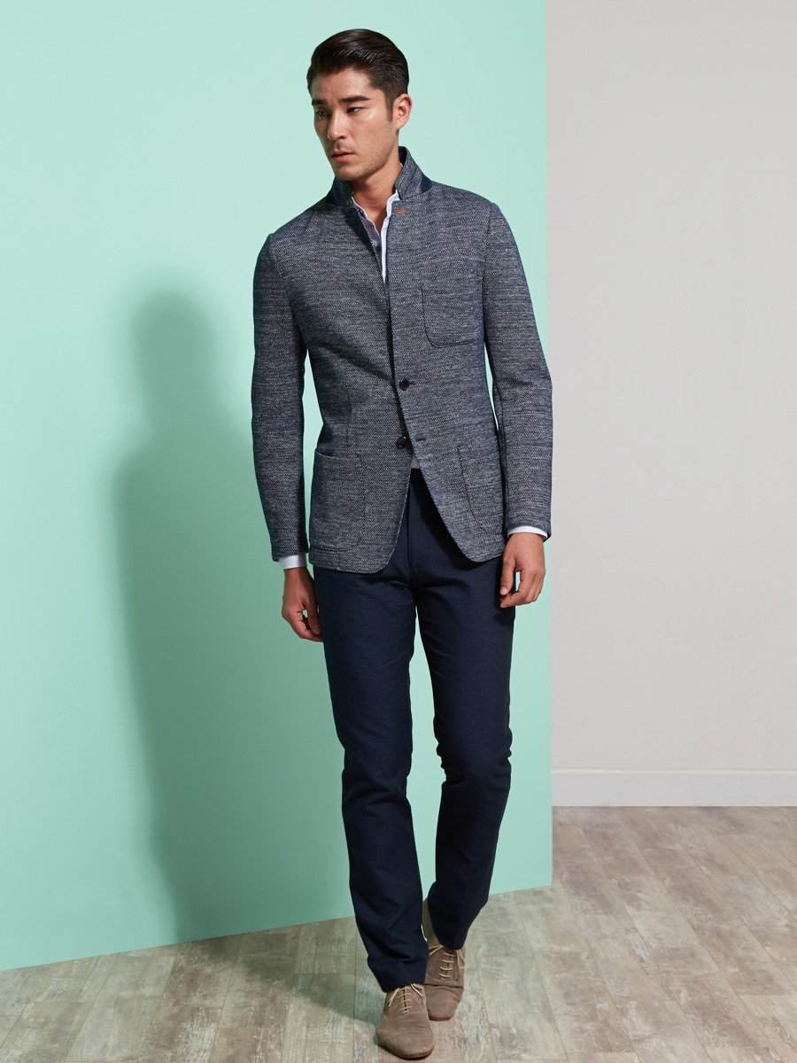 Cotton-Linen Blend Knit Blazer (Slim Fit)