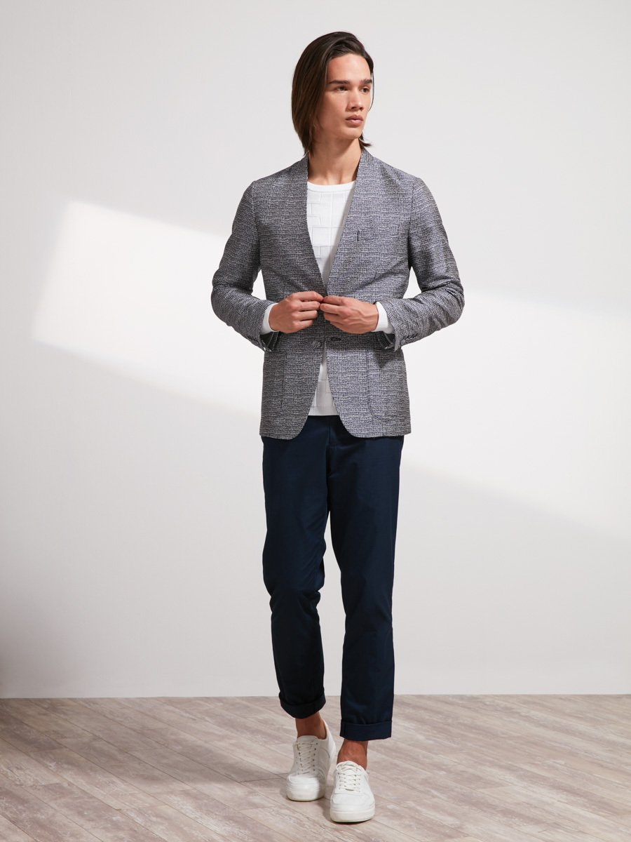 Silk Collarless Blazer