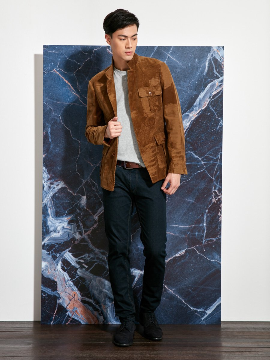 Cotton Corduroy Devore Officer Jacket
