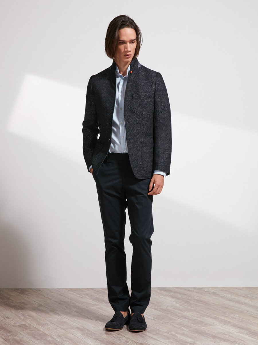 Cotton Linen Blend Mouline Blazer (Slim Fit)