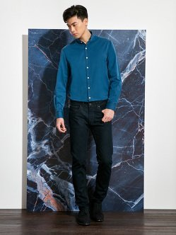 Indigo Cotton In & Out Collar Shirt